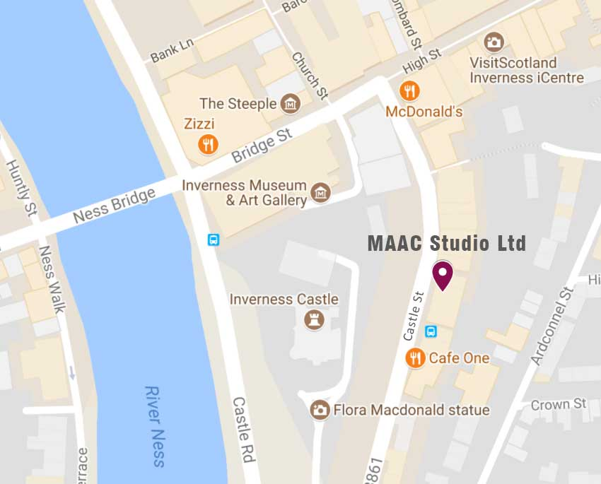 MAAC Studio location at 67 Castle Street Inverness IV2 3DU