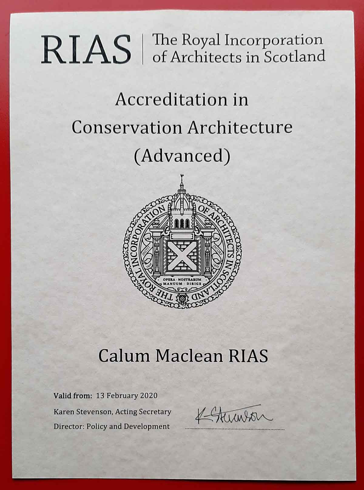 Certificate of Advanced Accreditation in Architectural Conservation from the RIAS
