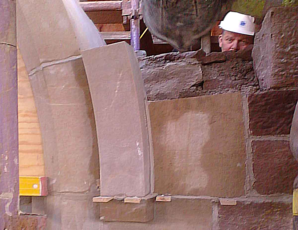 Fitting Stonework on site at St Andrews Cathedral Inverness