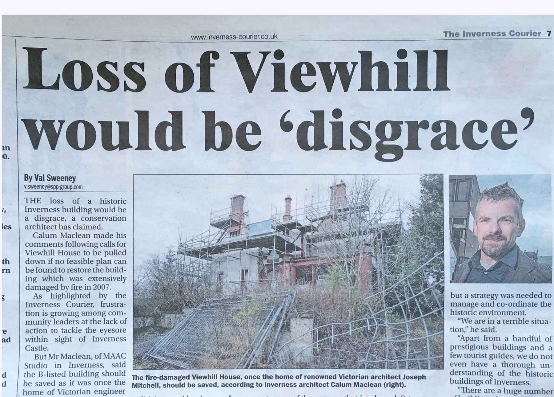 Viewhill Article in Inverness Courier by MAAC Studio conservation architects Inverness