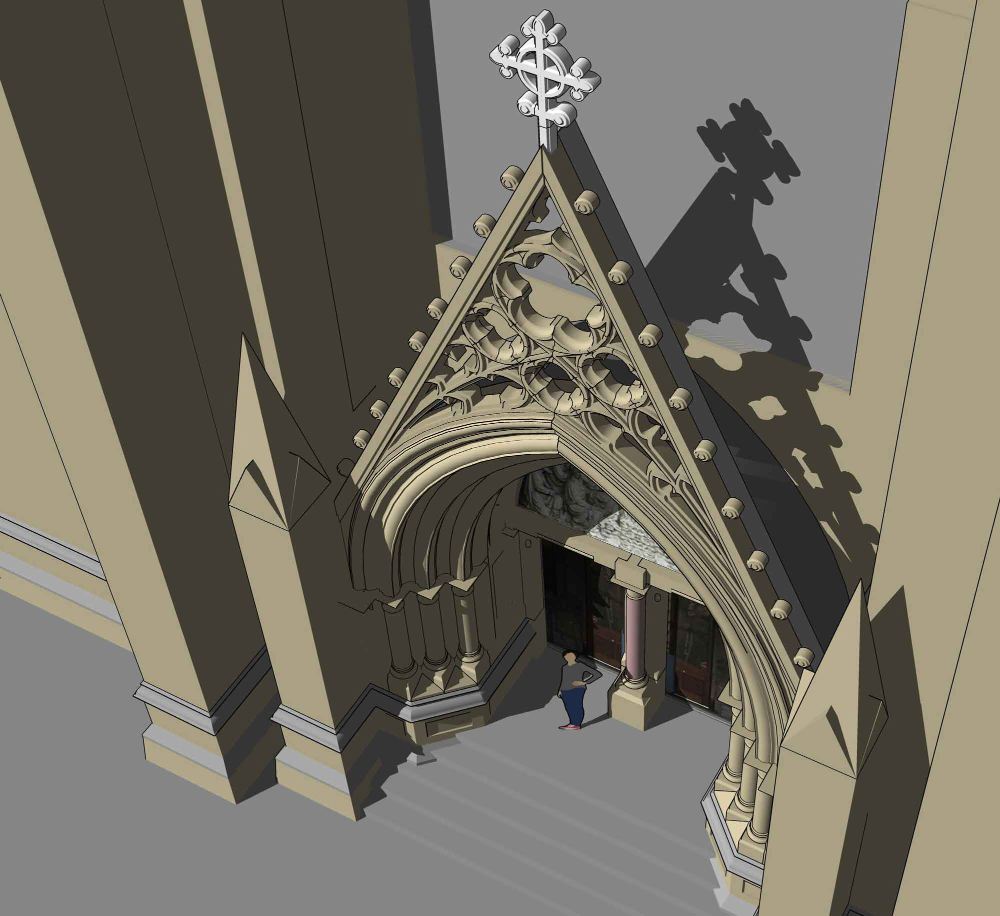 Computer model of porch at St Andrews Cathedral, Aerial View