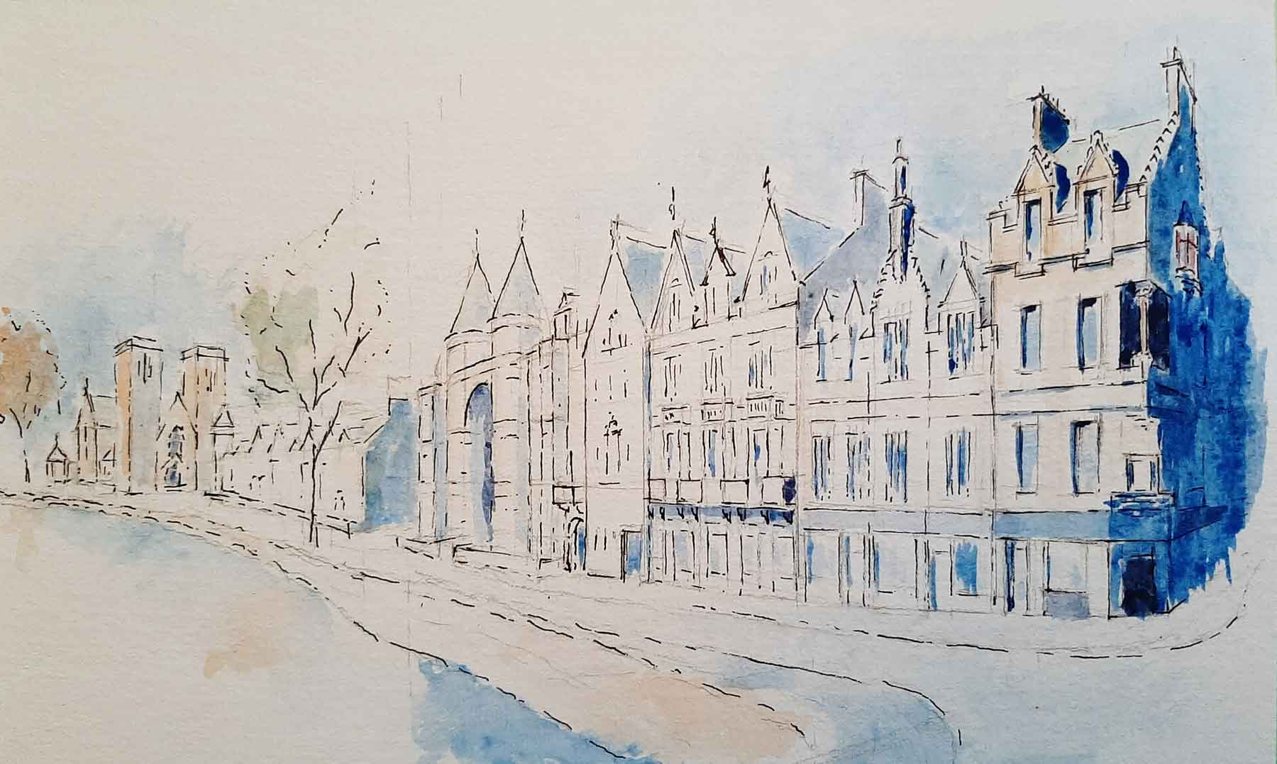 Watercolour of Ness Walk Inverness