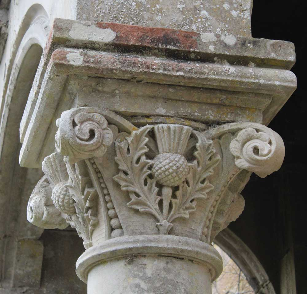 Sculpted capital in the form of a thistle MAAC studio conservation architect Highland Inverness